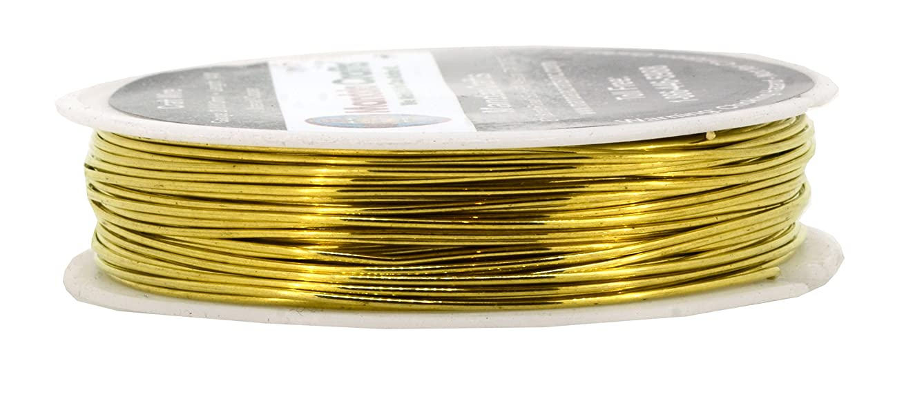 Mandala Crafts Thin Copper Wire for Jewelry Making, Sculpting, Weaving, Hobby, Gem Metal Wrap; Soft and Bendable; 1 Spool (20 Gauge 14M, Gold)