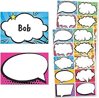 "250 Pack, Superhero Comic Name Tag Stickers - 10 Designs, 3"" x 2"""