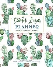 Teacher Lesson Planner, Undated 12 Months & 52 Weeks for Lesson Planning, Time Management & Classroom Organization: Pretty Watercolor Cactus Pot Succulent Pattern Teaching Calendar Book