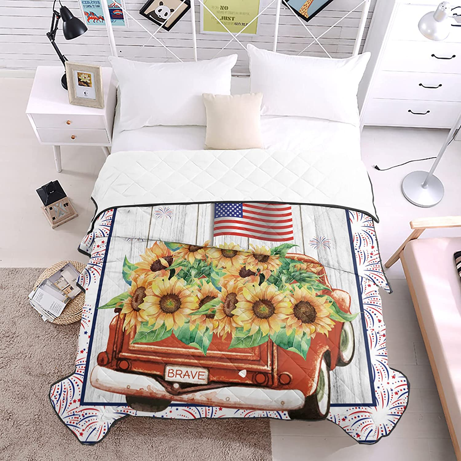 DecorLovee Bedding Duvets online shopping Red Trucks Loaded with Weekly update Flowers Sunflo