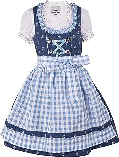 Ramona Lippert Kinder Dirndl für Mädchen - Kinderdirndl Chrissi in blau - 3-teiliges Trachtenkleid - Trachtenmode - Tracht mit Schürze …