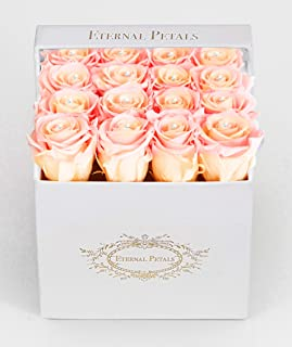 Real Roses That Last A Year - White Velvet Box with Swarovski Crystals (Double Peach)