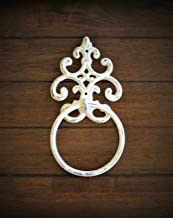 Shabby Chic Towel Ring, Antique White or Pick Color Towel Hanger, Heavy Cast Iron Bathroom Towel Hook, Fleur de Lis Design
