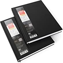 """ARTEZA 8.5x11"""" Hardbound Sketchbook, Set of 2 Heavyweight Hard Cover Sketch Journals, 100 Sheets Each, 80lb/130gsm, Perfect for Drawing, Sketching, and Journaling"""
