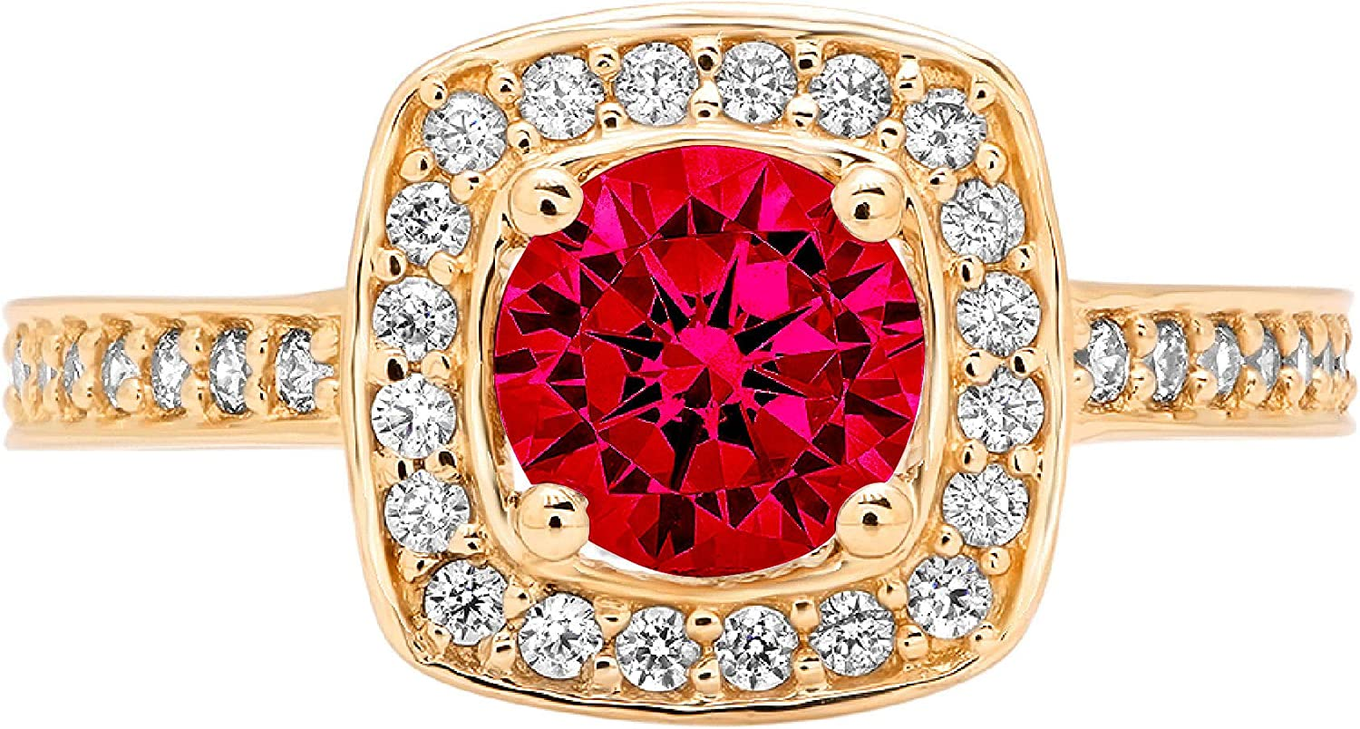 1.41 Brilliant Round Shape Halo Solitaire Stunning Genuine Flawless Simulated Pink Tourmaline Modern Promise with accent Designer Ring 18k Yellow Gold