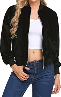 Women's Casual Padded Zipper Short Bomber Coat Outwear Biker Quilted Jacket
