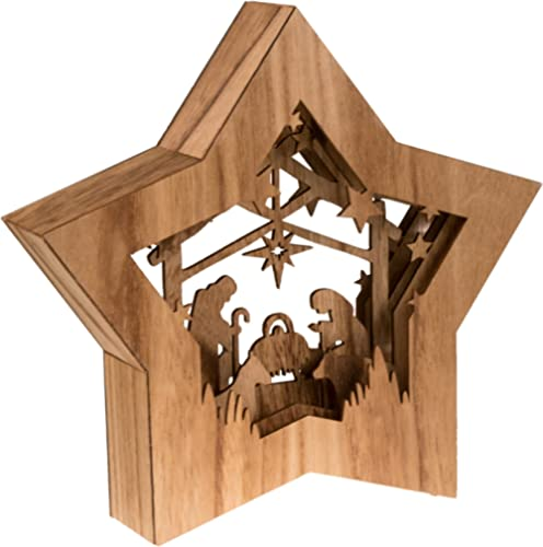 Clever Creations Star Shaped Nativity Collectible Religious Christmas Scene | Festive Holiday Décor | LED Backlight L...