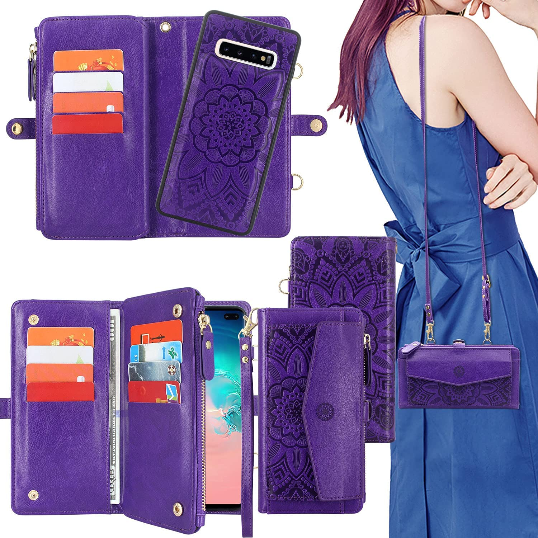Harryshell [12 Card Slots] [Block Theft Card Scanning], Detachable Magnet Wallet Case Cover Cash Bill Zipper Pocket Crossbody Lanyard Strap for Samsung Galaxy S10+ S10 Plus 6.4