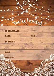 25 Rustic Invitations & 25 envelopes for Wedding, Bridal Shower, Birthdays, engagements, bachelorettes This Wood Rustic In...