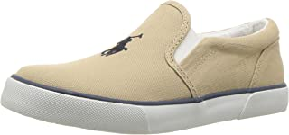 POLO RALPH LAUREN Kids Boys' BAL Harbour II Sneaker, Khaki, 2.5 Medium US Little Kid