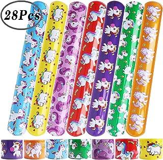 Hicdaw Slap Bracelet for Unicorn, 28 Pcs Bracelets for Unicorn Party Favors Slap Prizes for Kids Adults with 7 Design