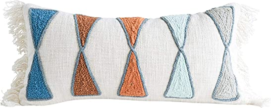 Bloomingville Rectangle Cotton Pillow with Embroidery & Fringe, Multicolored