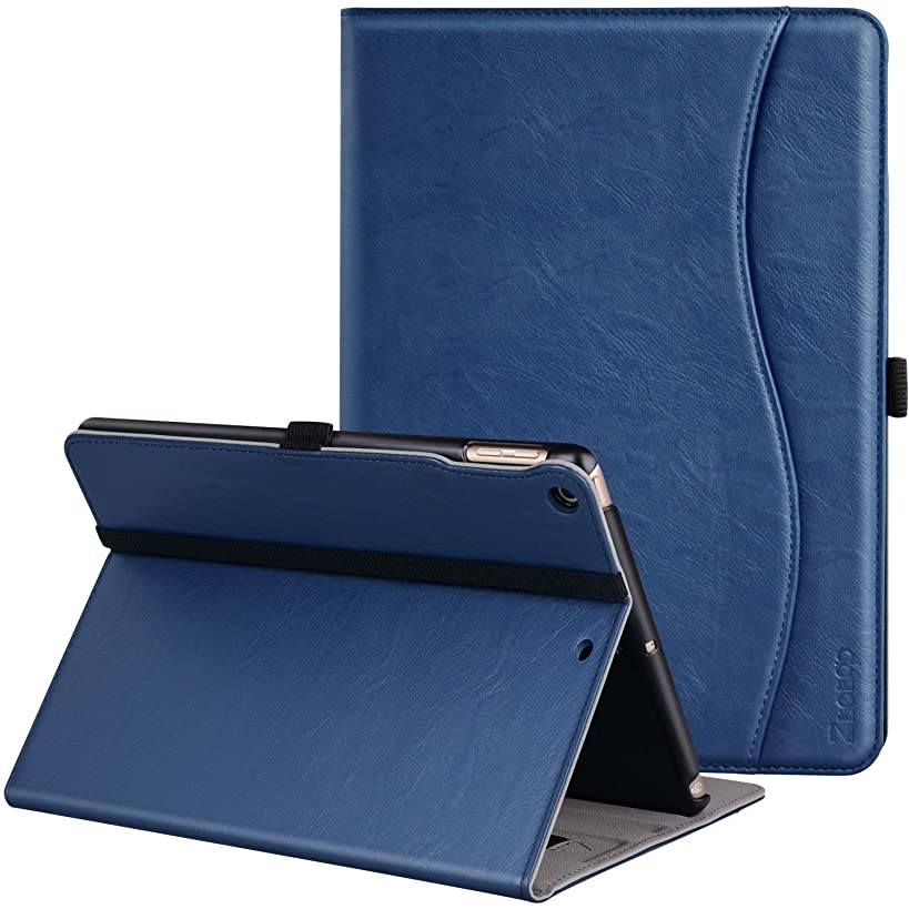 Ztotop Case for New IPad 9.7 Inch 2018/2017,Premium PU Leather Business Slim Folding Stand Folio Cover with Auto Wake/Sleep,Pencil Holder and Multiple Viewing Angles,Navy Blue