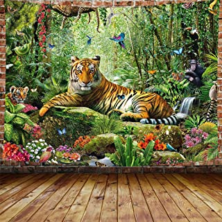 DBLLF King of The Forest,Tiger Tapestry Forest Animal Wall Hanging Tropical Rainforest Landscape Tapestry for Bedroom Living Room Dorm Decor 80X60 Inches DBLS800