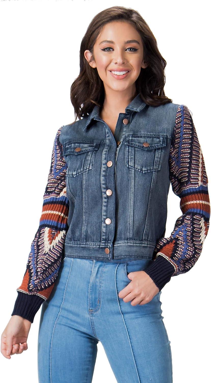 Flying Tomato Women's Boho Sweater Sleeve Denim Jacket