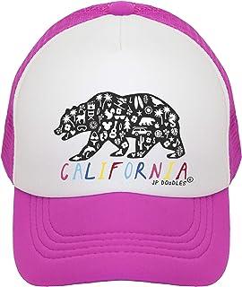 JP DOoDLES California Rainbow Bear Hat Kids Trucker Hat. Baseball Mesh Back Cap fits Baby, Toddler and Youth