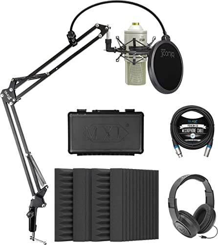 """lowest MXL 770 Cardioid Condenser Microphone (Vintage White) Bundle with Blucoil 4-Pack of 12"""" Acoustic Foam Isolation Panel Wedges, 10' XLR Cable, Boom Arm discount Plus Pop Filter, high quality and Samson SR350 Headphones sale"""