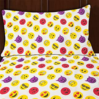 Sutton Home Fashions (3 Piece Emoji Bed Sheet Set Twin Size Microfiber Bedding with Flat Fitted Bed Sheets Emoji Pillow Case