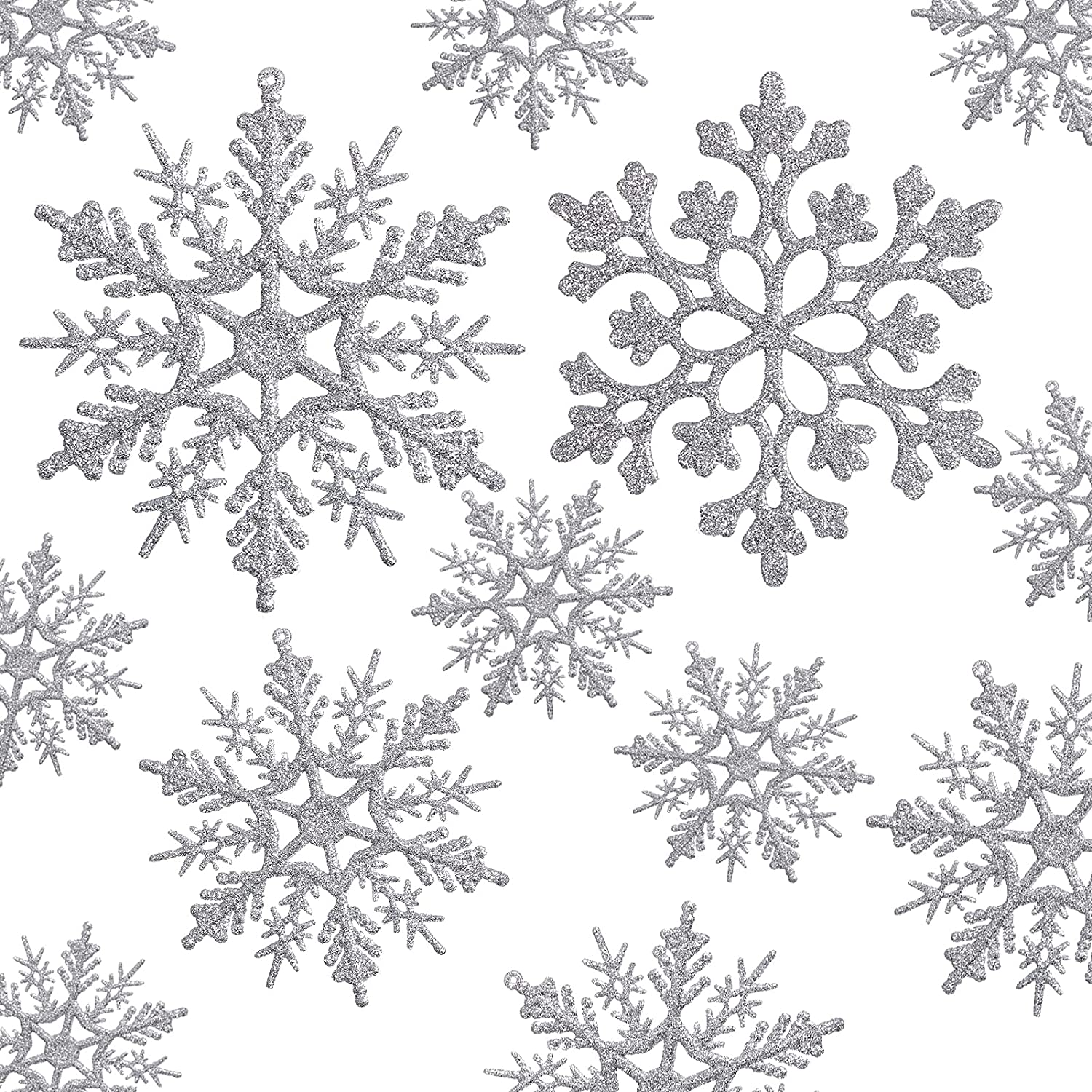 36pcs Silver Snowflake Ornaments Plastic Glitter Snow Flakes Ornaments for Winter Christmas Tree Decorations Size Varies Craft Snowflakes