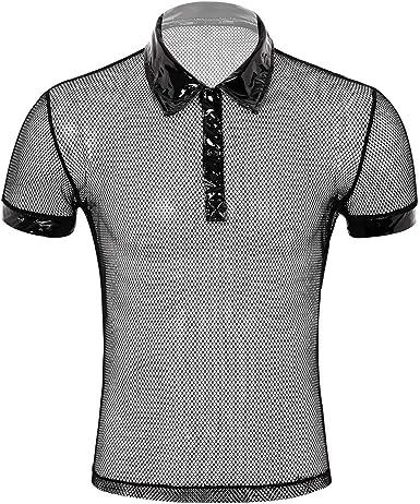 iiniim Camiseta de Malla Hombre Camisa Negro Fishnet Transparente Manga Corta Clubwear Apretada Muscular Traje de Fiesta Clubwear Ropa de Noche para ...