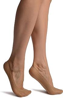 LissKiss, Dark Beige Snake Skin, Silver Lurex With Silicon Heel & Bottom Footies - Footsies Socks - Beige Calcetines Tobilleros Talla unica (37-42)