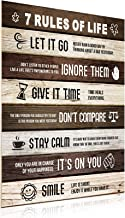 Zonon 7 Rules of Life Motivational Quotes Poster Wooden Inspirational Poster Vintage Art Wall Decor for Home Office Colleg...