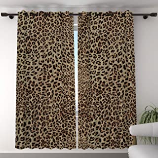 T&H Home Blackout Curtain for Bedroom - 96 inch Long Darkening Draperies & Curtains - Leopard Print Window Treatment Curtain Drapes for Living Room Diningroom