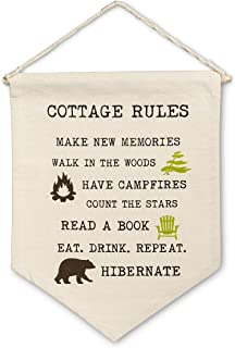 Abbott Collection 1256-PENNANT-04 Cottage Rules Wall Pennant-12x16 L,