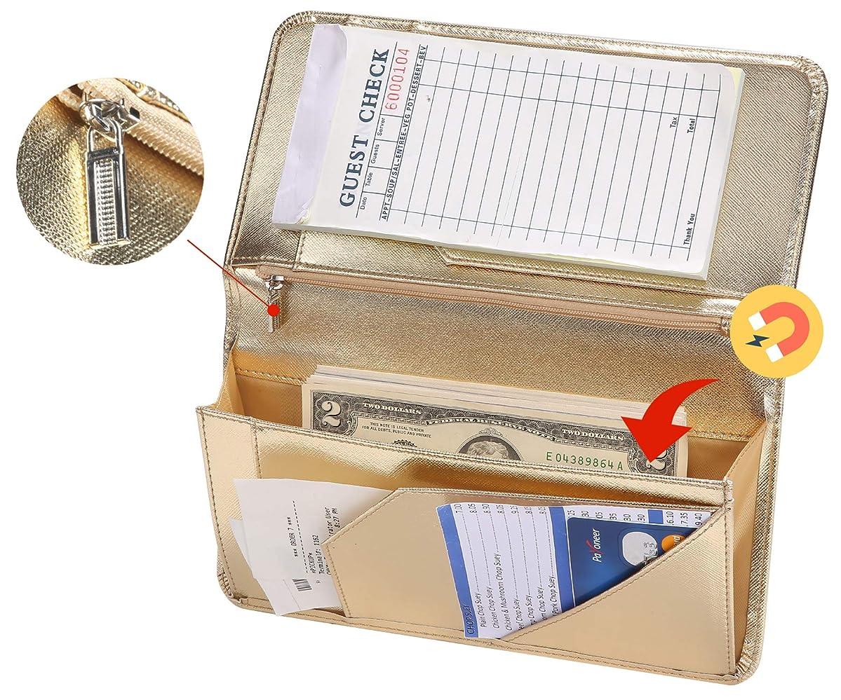 Metallic Gold Server Book for Waitress Book with Zipper Pocket Server Wallet with Money Pocket and Zipper Pouch Restaurant Waitstaff Organizer, Guest Check Book Holder Money Pocket Fit Server Apron