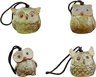 Rmdusk Small Ceramic Owl Wind Chime, Bird Windbell, Outdoor Garden Décor Figurine Home Accent Ornament (Set of 4)