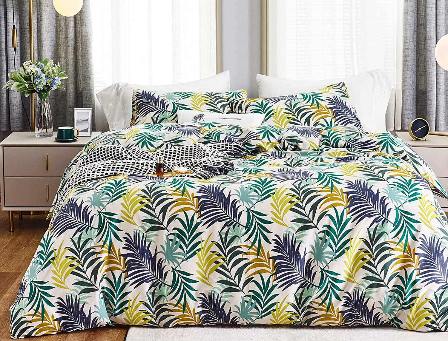 SUSYBAO 3 Piece Duvet Cover Set T Cotton 購入 2020モデル 100% King Colorful Size