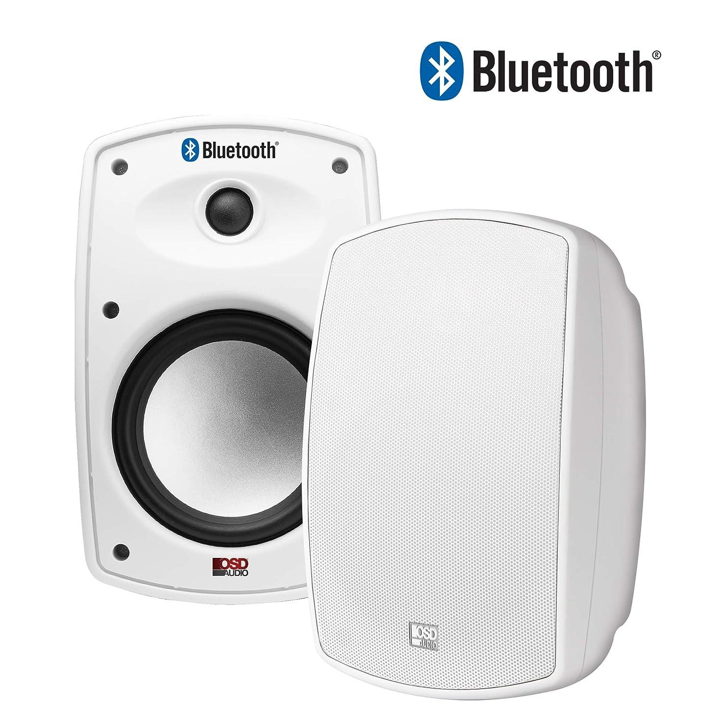"OSD Audio 6.5"" Bluetooth Outdoor Patio Speaker –Wireless Stereo Pair, White - BTP650"