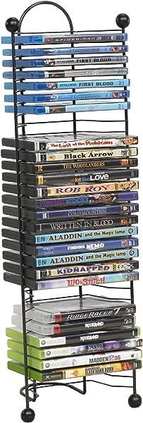 Atlantic Nestable 32 DVD Blu Ray Games Rack Space Saving Modern Design Durable Steel Construction PN63712046 In Black