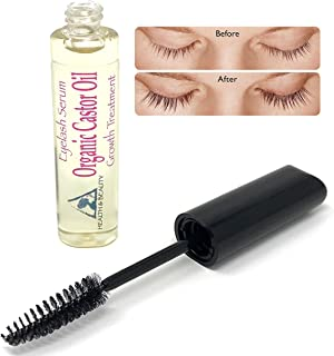 Castor Oil Organic Stimulate Eyelash Growth Serum by H&B Oils Center Grows Longer Thicker Eyelashes & Beautiful Eyebrows Cold Pressed 100% Pure Hexane Free Brow Treatment in Mascara Tube