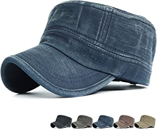 a3c9e094c2e Rayna Fashion Men Women Soft Washed Cotton Adjustable Flat Top Military  Army Hat Cadet Cap