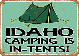 Dreamawsl Wall Decoration - Idaho Camping is in-Tents - Metal Vintage Retro Tin Wall Signs Bar Club Poster Signs 11.8 x 7.8 inch