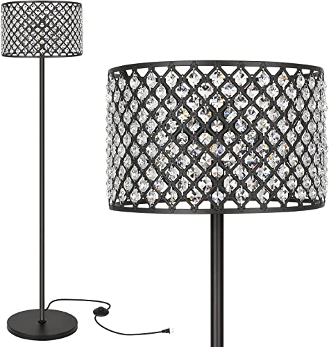 2021 Hykolity Elegant new arrival Crystal Floor Lamp, Bedroom Standing Lights, 65Inch sale Tall Pole Accent Lighting for Mid Century, Modern & Contemporary Style, Suitable for Bedroom, Living Room, Office, Black Finish sale