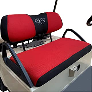 10L0L Golf Cart Seat Cover Set Fit for Club Car DS Precedent & Yamaha, Warm Bench Seat Covers for Cold Winter Weather, Breathable Washable Polyester Mesh Cloth Gray Black Beige Red Blue