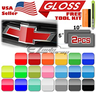 "EZAUTOWRAP Free Tool Kit 2Pcs 5""x10"" Chevy Emblem Bowtie Gloss Red Vinyl Wrap Sticker Decal Film Overlay Sheet"