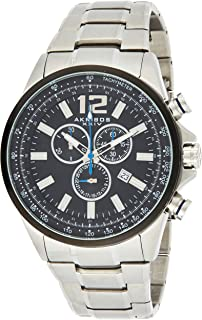 Akribos XXIV Men's Swiss Quartz Chronograph Watch - Beveled Bezel With Tachymeter Scale - Matte Dial - Luminous Hands and Markers - Stainless Steel Bracelet Strap - AK619