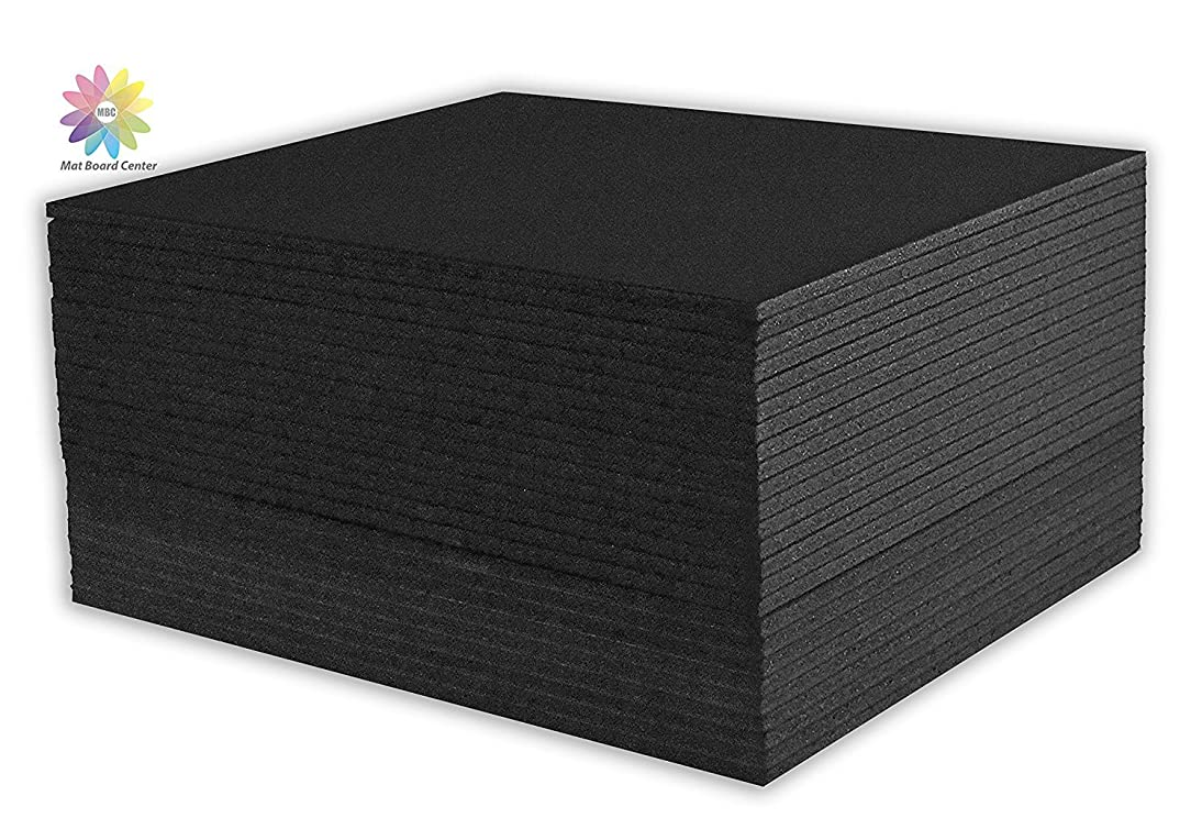Mat Board Center, Pack of 25 Foam Core Backing Boards 3/16 (11x14, Black)