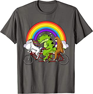 Unicorn T-Rex Dinosaur Sloth Riding Bicycle Rainbow Party T-Shirt