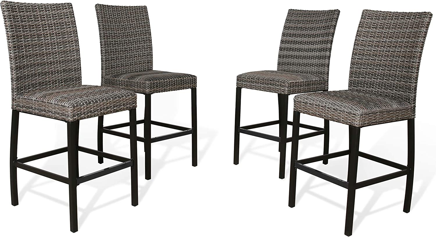 Iwicker Patio PE Wicker Height Outdoor OFFicial Max 67% OFF Chairs Ste Heavy-Duty Bar