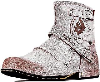 osstone Bottes de Moto Cowboy pour Hommes Mode Zipper Bottes Chukka en Cuir Chaussures décontractées OS-5008-1-W-R
