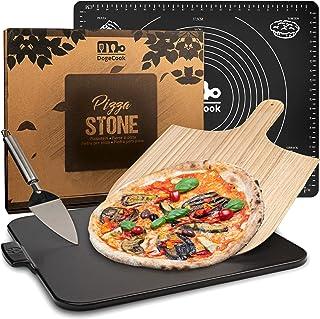 DOGE COOK Pierre à Pizza Vernie + Pelle à Pizza en Bambou + Spatule + Tapis Cuisine en Silicone | Kit Pizza Complet | Pier...