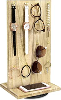 Ikee Design Wooden Rotating Two-Sided Jewelry Display Stand, Rotating Organizer with 32 Hooks for Store, Home Decoration, Oak Color, 9