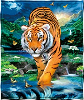 "Dawhud Direct Super Soft Full/Queen Size Fleece Blanket, 75"" x 90"" (Moonlight Tiger)"