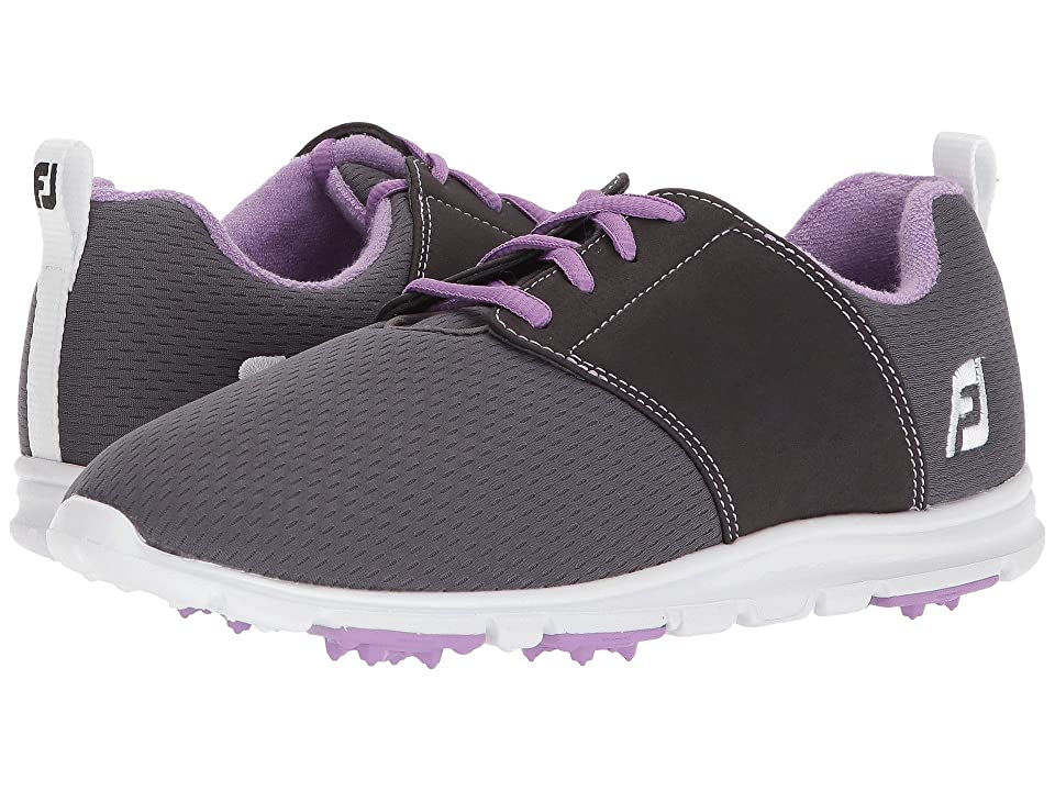 FootJoy Enjoy Spikeless Mesh Saddle (Charcoal/Violet Trim) Women
