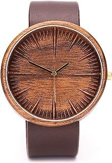 Reloj De Madera para Hombres, Ovi Watch 100% Natural Nogal Movimiento de Cuarzo Swiss con Correa de Cuero Ajustabl Artesan...