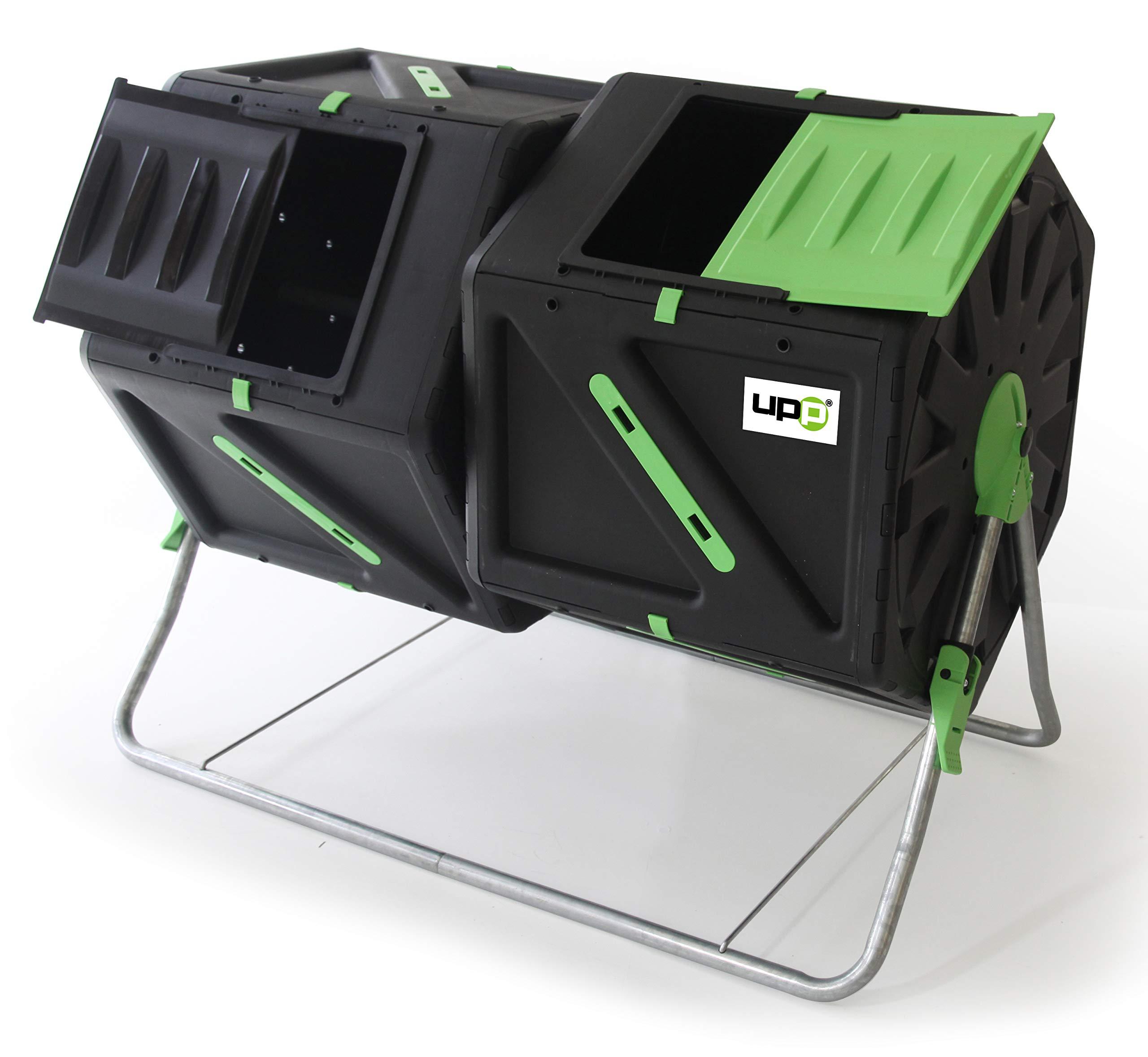UPP Compostador de Barril, 2 cámaras/Tambores de 105L para jardín o balcón I compostador térmico, ventilación Interna, acelera el compostaje, abono orgánico: Amazon.es: Jardín